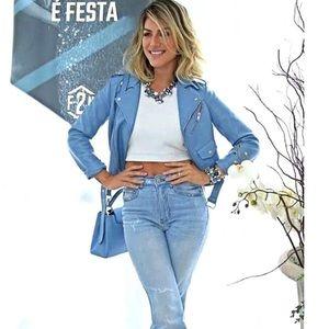 Zara Jackets & Coats - Zara Sky blue Faux Leather Biker Moto Jacket sz M